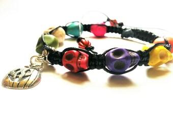 "Single Row Skull Bead Shamballa Bracelet with ""Jack-o'-lantern"" Charm, Multi-color Skull bead bracelets, Halloween Skull Shamballa Bracelets"