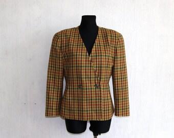Vintage Joseph Janard Plaid Tartan Wool Formal Double Breasted Blazer Made in West Germany Medium Size