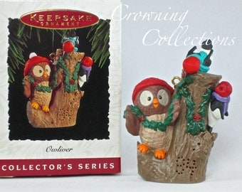 1994 Hallmark Owliver Keepsake Ornament 3rd in Series Owl #3 Decorating Stump Christmas Tree Woodpeckers Bird