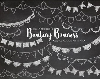 Chalkboard Bunting Banner Clip Art. Hand Drawn Birthday Bunting Banners. White Party Garland Clipart. Doodle Chalk Texture Birthday Flags.