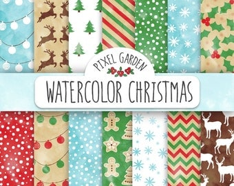70% OFF SALE Christmas Digital Paper. Watercolor Rustic Christmas Patterns. Shabby Watercolor Snowflake, Reindeer, Christmas Tree Background