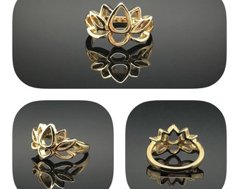Very Cute Lotus Flower Gold Ring, Gold-Tone Ring, Thank You Gift, Birthday Gift, Graduations Gift & Bridesmaid Gift