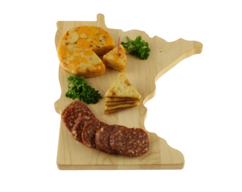 Solid Hardwood - Minnesota Cutting Board - Cheese Board - Cutting Board in the Shape of MN made out of Solid Hard Maple