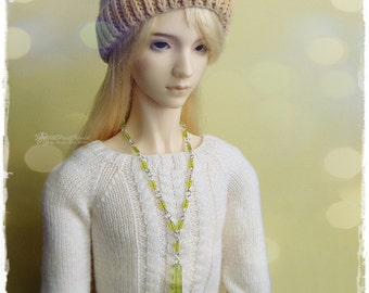 OOAK SD, SD+ jewelry, necklace, pendant, 1/3 bjd, dollfie - Green Icicle #4