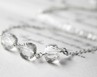 clear rock crystal quartz gemstone necklace. polished sterling silver cube. wire wrapped. made to order jewelry. (polarize. necklace)