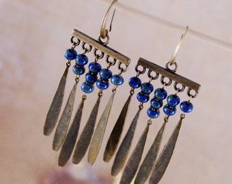 Long boho earrings,  fashion ladies earrings, dangle unique earrings, cool blue handcrafted earrings