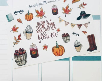 Fall Clipart Stickers for a Personal Sized Planner/ECLP