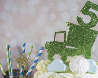 Boy's Birthday Cake Topper - Truck Cake Topper - Boy's Birthday Cake Topper - 5th Birthday Cake Topper - Customized Number Cake Topper