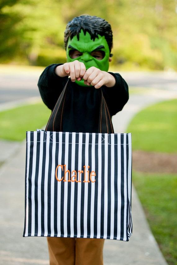 Monogrammed Bag, Halloween Tote Bag, Black Striped Bag, Reusable Tote Bag, Halloween Treat Bag, Halloween Accessories, Fall Tote Bag