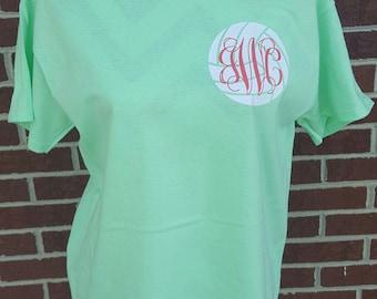 Monogrammed Volleyball Short Sleeve Shirt, Volleyball Monogram, Volleyball Gift, Volleyball Shirt, Volleyball team, Volleyball Tshirt