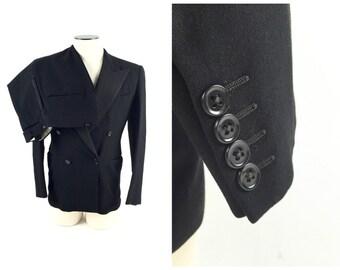 1940's Men's Tuxedo / 1940s Tuxedo / 1940s Tux / 40s Tux / Black Tuxedo / Peak Lapel / 38/39 Reg