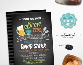 """Diaper Shower Invitation """"Brew,BBQ, & Diapers Too!"""" (Printable File Only) Summer Fun Barbecue Beer Stein Mug Co-Ed Chalk-Style Daddy To Be"""