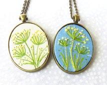 hand embroidery necklace Queen anne's lace pendant Silk painting jewellery