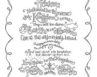 The Lords Prayer Coloring Page In Three Sizes 85X11 8X10 Suitable For Framing