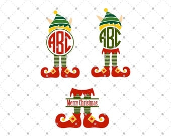 Elf SVG Cut files, Christmas Elf SVG Cut Files, Elf Monogram Frames svg cut files, Winter SVG Cut Files for Cricut and Silhouette, svg files