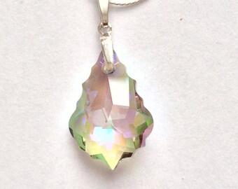 Light Green Swarovski Baroque Necklace, Swarovski Baroque Necklace, Swarovski Jewelry