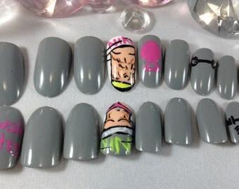 press on nails,fitness,fake nails,false nails,nail art,swole mate,press on stiletto nails,pagent nails,gray fake nails,competition nails