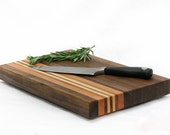 Natural Black Walnut Cutting Board with Cherry, Mahogany, and Maple Stripes