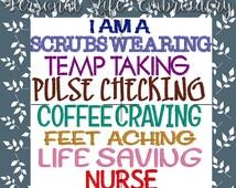 I Am A Nurse Machine Embroidery Design Digital Pattern INSTANT DOWNLOAD RN Scrubs Coffee Pulse Temp Band Aid Girl Boy Hospital Doctor Asst