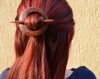 Geometric Hair Clip, Wooden Shawl Pin, Hair Barrette, Hair Pin, Hair Stick, Shawl Pin,  Haarstab Circle hair barrette hair slide Womens Gift