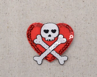Red Sequin Heart - Jolly Roger - Skull with Crossbones - Iron on Applique - Embroidered Patch - 159143A