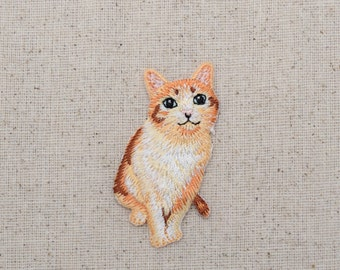 Orange Tabby Cat  - Kitten - Embroidered Patch - Iron on Applique - 1517273-A