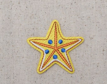 Starfish - Yellow with Blue Spots - Iron on Applique - Embroidered Patch - 1517735-A