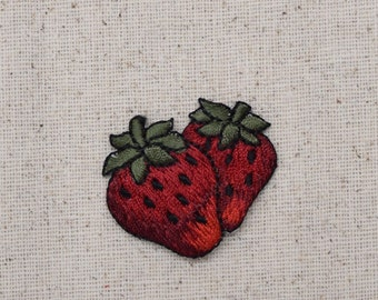 Double Strawberry - Two Strawberries - Fruit - Food - Embroidered Patch -  Iron on Applique  - 151254A