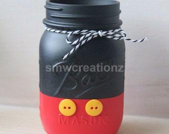 Mickey Mason Jar or Mickey & Friends- Mickey Birthday Decor- Cute Gift