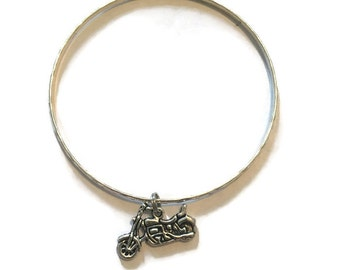 Motorcycle Charm Bracelet - Motorcycle Charm Bangle - Motorcycle Bangle - Motorcycle Bracelet - Silver Jewelry - Stacking Bangles