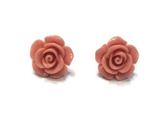 Rose Earrings - Coral Rose Earrings - Coral Earrings - Light Pink Earrings - Silver Jewelry - Stud Earrings - Flower Earrings - Pink Earring