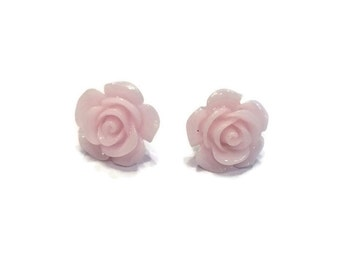 Rose Earring Studs - Pink Rose Earrings - Pink Rose Stud Earrings - Pink Flower Earrings - Silver Jewelry - Light Pink Rose Stud Earrings