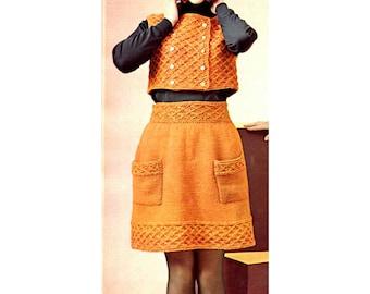 Women's Retro Skirt & Bolero Knitting Pattern from the 60s