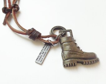 Men's leather necklace with boot and label, brown leather necklace, men's jewelry, Men's combat boot on leather Cord, Men's gift