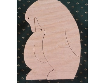 Penguin Family Puzzle, Children Puzzle, Wood Puzzle, Educational Puzzle, Puzzle, Children Wood Puzzle