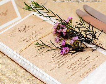 Rustic Wedding Menu - Burlap Menu - Kraft and Ivory Menu with Raffia Ribbon - Customizable