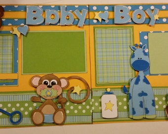 BABY BOY Premade Paper Piecing Scrapbook Pages for Album 12x12 2 Pages
