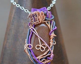 Goldstone Wire Wrap Festive Fantasy Pendant