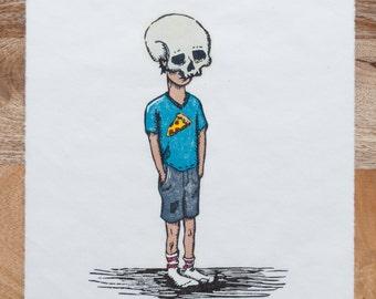 Limited Edition, Kids In Masks, Woodcut,  Skull Boy, Printmaking, Handmade, Woodblock Print