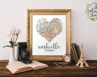 Heart Map print, printable map wall art decor, INSTANT DOWNLOAD - Nashville, Tennessee