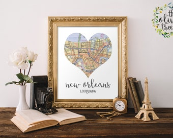 Heart Map print, printable map wall art decor, INSTANT DOWNLOAD - New Orleans, Louisiana