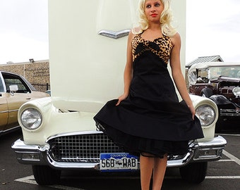 Leopard Print & Black Two Tone Rockabilly Pin Up Dress
