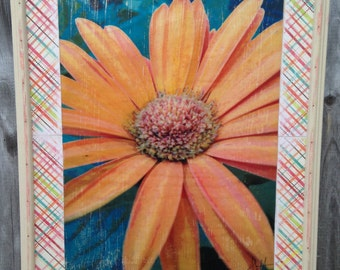 Daisy limited edition wood print with shabby chic frame in pastels - SALE