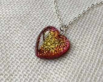 Flame Glitter Heart Necklace
