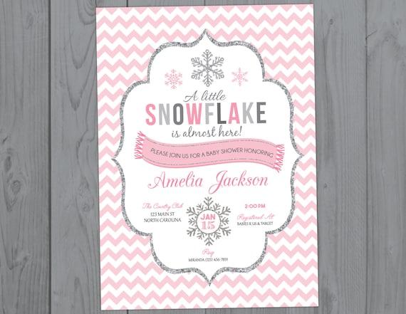 Pink Snowflake Baby Shower Invitation - Winter Baby Shower Invite - Girl Holiday Christmas Shower Printable Invitation