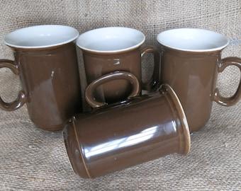 Set of Four Vintage 1980's Churchill Dark Brown Coffee / Tea Mugs