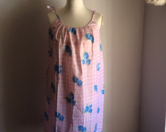 Vintage 50s 60s M short cotton nightie, new old stock, Deadstock.
