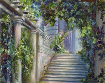 The Hanging Garden - from an original oil painting by D Y Hide, signed by the artist, also available as a greetings card