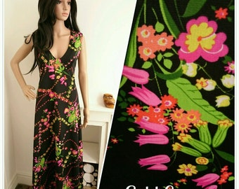 Vintage 70s Black Pink Floral Wildflower Daisy Tulip Maxi Dress Boho / UK 10 / EU 38 / US 6
