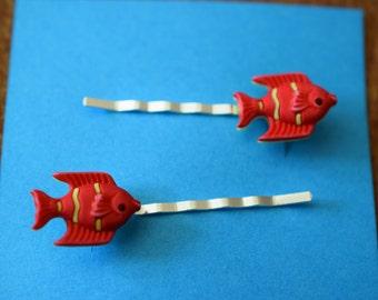 Orange Fish Hair Bobby Pins